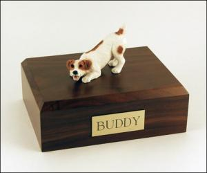 Jack Russell Terrier, Brown Standing Dog Figurine Cremation Urn