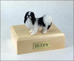 Japanese Chin, Black-White Dog Figurine Cremation Urn