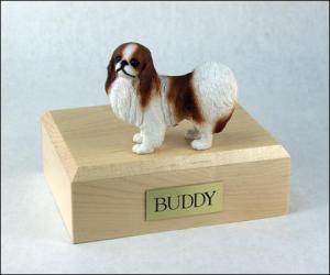 Japanese Chin, Red-White Dog Figurine Cremation Urn