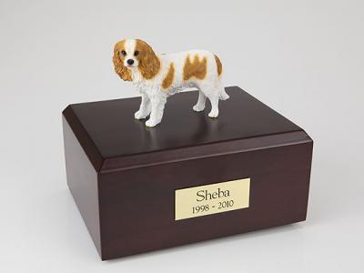 King Charles Spaniel, Brn/Wht  Dog Figurine Cremation Urn