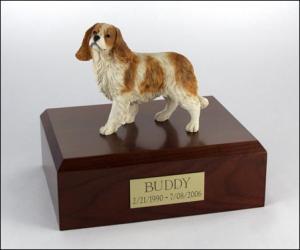King Charles Spaniel White-Tan, Standing Dog Figurine Cremation Urn