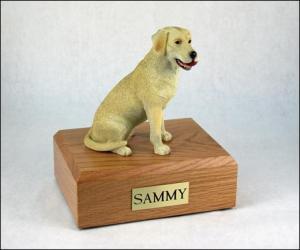 Labrador, Yellow-White Dog Figurine Cremation Urn
