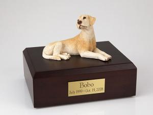 Labrador, Yellow-Red Laying Dog Figurine Cremation Urn