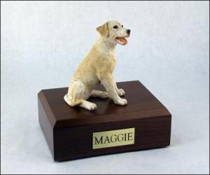 Labrador, Yellow Sitting Dog Figurine Cremation Urn