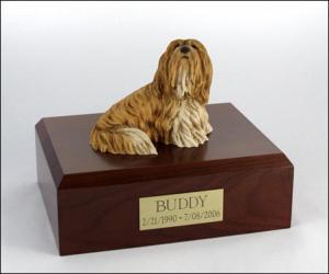 Lhasa Apso Yellow-White Dog Figurine Cremation Urn
