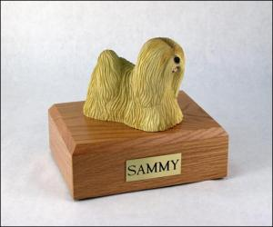 Lhasa Apso Gold Dog Figurine Cremation Urn
