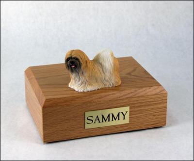 Lhasa Apso, Red Dog Figurine Cremation Urn