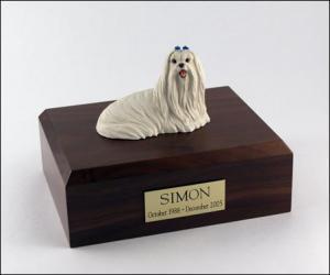 Maltese Laying Dog Figurine Cremation Urn