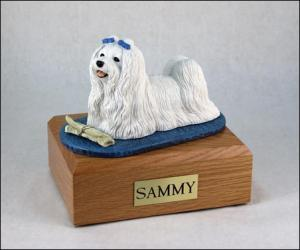 Maltese White Laying Dog Figurine Cremation Urn