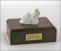 Maltese White Standing Dog Figurine Cremation Urn