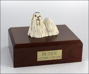 Maltese Standing Dog Figurine Cremation Urn