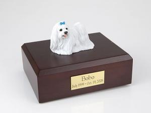 Maltese, blue ribbon Dog Figurine Cremation Urn