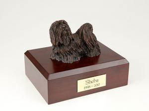 Maltese, Bronze Dog Figurine Cremation Urn