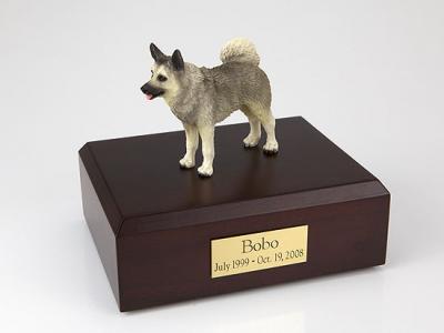 Norwegian Elkhound Standing Dog Figurine Cremation Urn