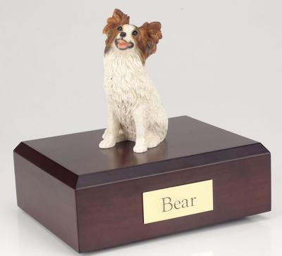 Papillon Dog Figurine Cremation Urn