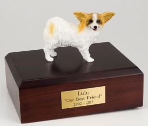 Papillon, Brown-White Dog Figurine Cremation Urn