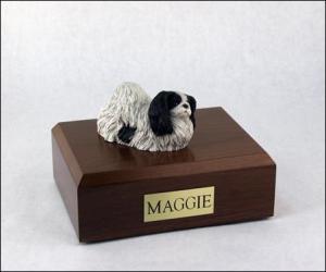 Pekingese, Black-White Dog Figurine Cremation Urn