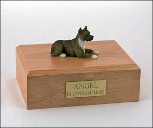 Pit Bull Terrier, Brindle Laying Dog Figurine Cremation Urn