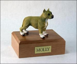 Pit Bull, White-Tan Dog Figurine Cremation Urn