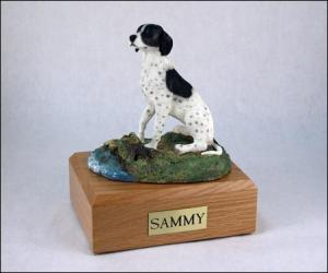 Pointer, Black-White Dog Figurine Cremation Urn