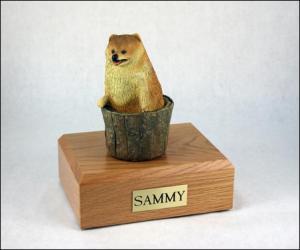 Pomeranian Dog Figurine Cremation Urn