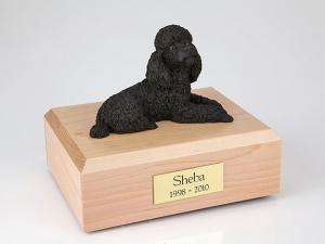 Poodle, Black Laying Dog Figurine Cremation Urn