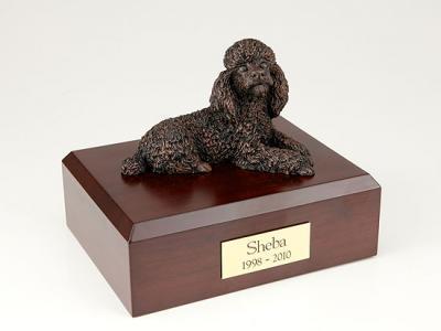 Poodle, Bronze Laying Dog Figurine Cremation Urn