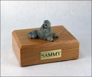 Poodle, Gray - show cut Dog Figurine Cremation Urn