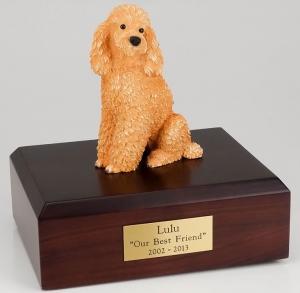 Poodle, Sitting, Apricot Dog Figurine Cremation Urn