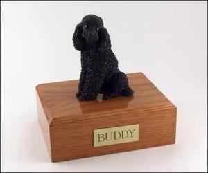 Poodle, Sitting, Black Dog Figurine Cremation Urn