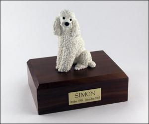 Poodle, Sitting, White Dog Figurine Cremation Urn