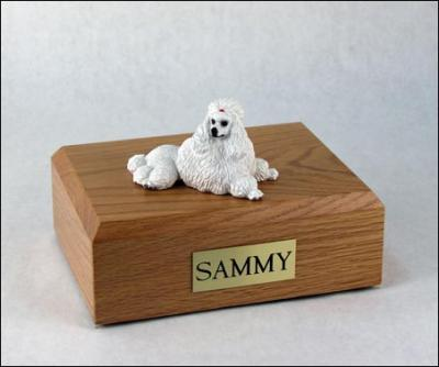 Poodle, White - show cut Dog Figurine Cremation Urn