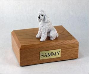 Poodle, White - sport cut Dog Figurine Cremation Urn