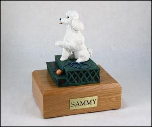 Poodle, White - sport cut ears down Dog Figurine Cremation Urn