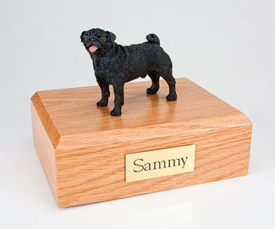 Pug, Black Standing Dog Figurine Cremation Urn
