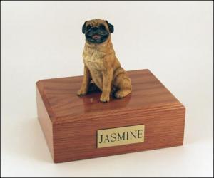 Pug, Sitting Dog Figurine Cremation Urn