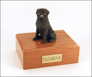 Pug, Sitting Black Dog Figurine Cremation Urn