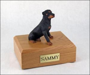Rottweiler Black Sitting Dog Figurine Cremation Urn