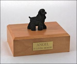 Spaniel Cocker, Black Dog Figurine Cremation Urn