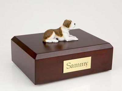 Saint Bernard Laying Dog Figurine Cremation Urn