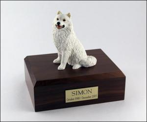 Samoyed Sitting Dog Figurine Cremation Urn