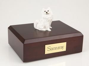 Samoyed Black Nose Sitting Dog Figurine Cremation Urn