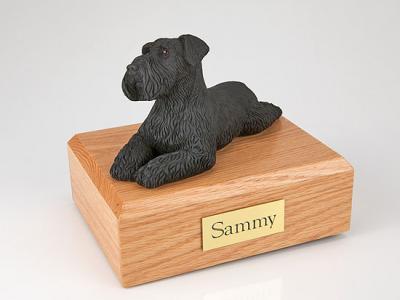 Schnauzer, Black - ears down Laying Dog Figurine Cremation Urn