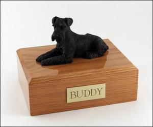 Schnauzer,Deep Black Dog Figurine Cremation Urn