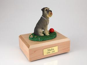 Schnauzer, Gray Playing Dog Figurine Cremation Urn