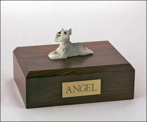 Schnauzer, Grey White Dog Figurine Cremation Urn