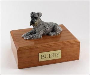 Schnauzer, Silver Laying Dog Figurine Cremation Urn