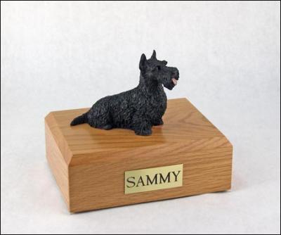 Scottish Terrier Black Laying Dog Figurine Cremation Urn