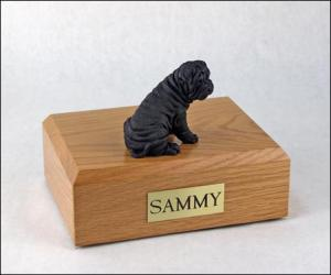 Shar Pei, Black Laying Dog Figurine Cremation Urn