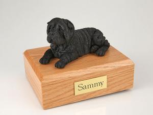 Shar Pei, Black Sleeping Dog Figurine Cremation Urn